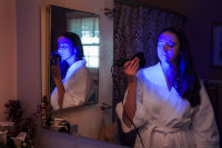 An example of blue light therapy for rosacea treatment.